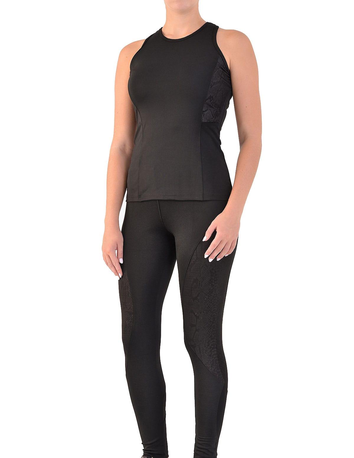 b2a2b3200d9b Γυναικείο αθλητικό σετ μπλουζάκι και κολάν σε μαύρο χρώμα - vactive.gr