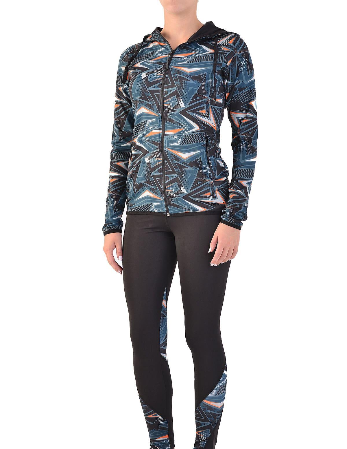 132b64cf45f1 Γυναικείο σετ ζακέτα και κολάν με σχέδιο σε χρώμα μαύρο και πετρόλ -  vactive.gr