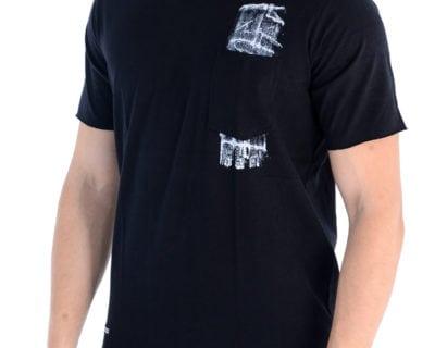 Ανδρικό κοντομάνικο loose μπλουζάκι σε μαύρο χρώμα