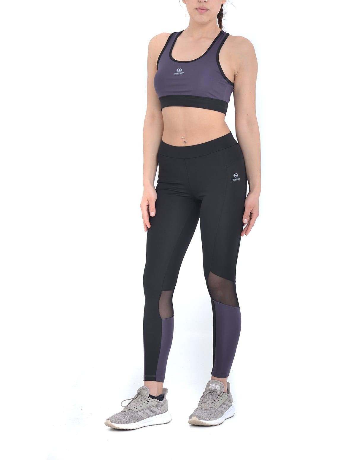 5d11042e4c1 Αθλητικό σετ μπουστάκι και κολάν σε μαύρο-μωβ χρώμα - vactive.gr