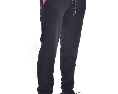 Παντελόνι φόρμας jogger με λάστιχο στο πόδι σε μαύρο χρώμα