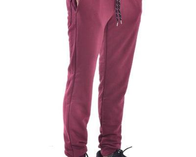 Παντελόνι φόρμας jogger με λάστιχο στο πόδι σε μπορντώ χρώμα