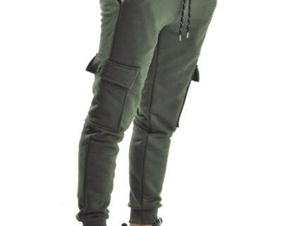 Παντελόνι φόρμας jogger cargo σε χακί χρώμα
