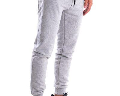 Παντελόνι φόρμας jogger με ρίγα σε γκρι χρώμα