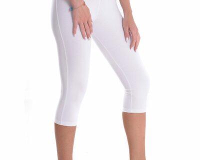 Γυναικείο ψηλόμεσο κάπρι σε λευκό χρώμα